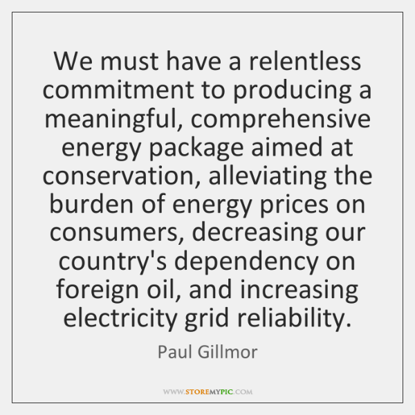 We must have a relentless commitment to producing a meaningful, comprehensive energy ...