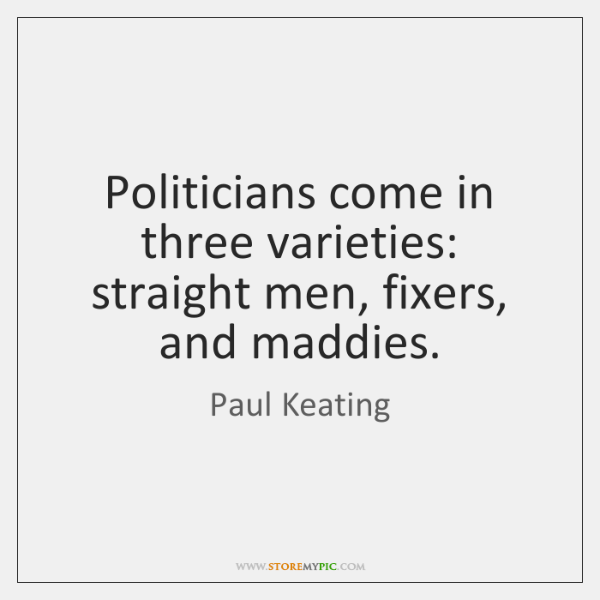 Politicians come in three varieties: straight men, fixers, and maddies.