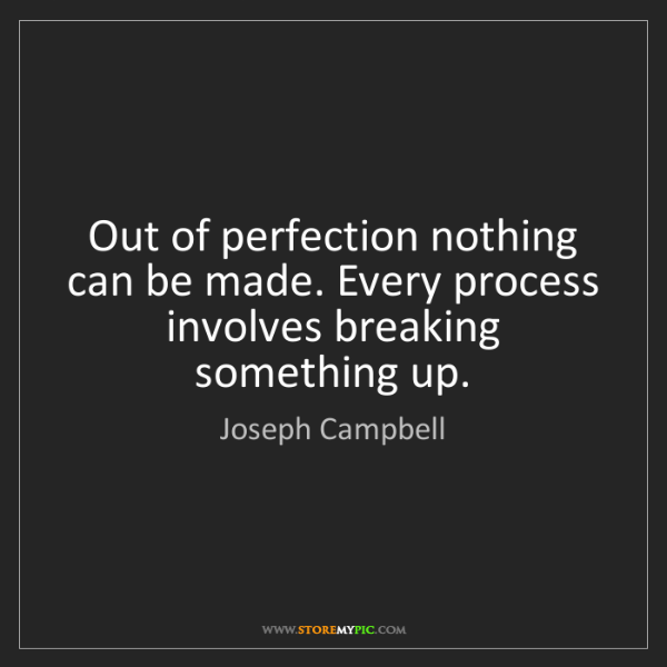 Joseph Campbell: Out of perfection nothing can be made. Every process...