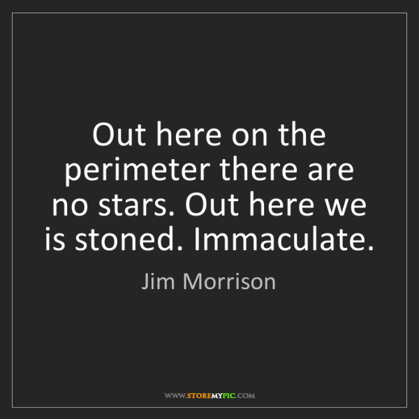 Jim Morrison: Out here on the perimeter there are no stars. Out here...