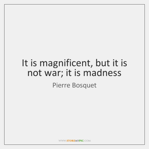 It is magnificent, but it is not war; it is madness