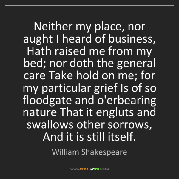 William Shakespeare: Neither my place, nor aught I heard of business, Hath...