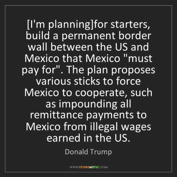 Donald Trump: [I'm planning]for starters, build a permanent border...