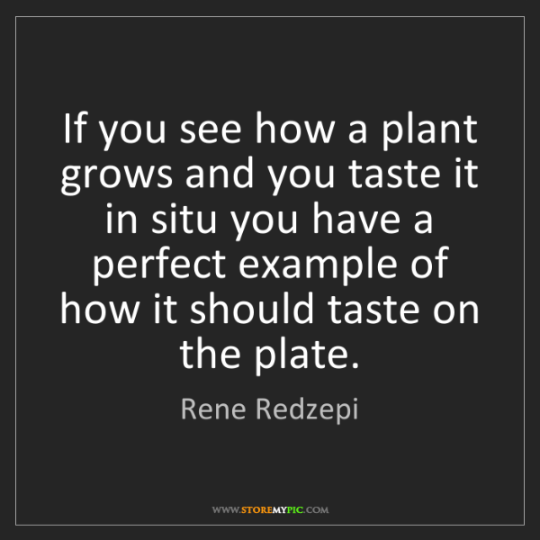 Rene Redzepi: If you see how a plant grows and you taste it in situ...