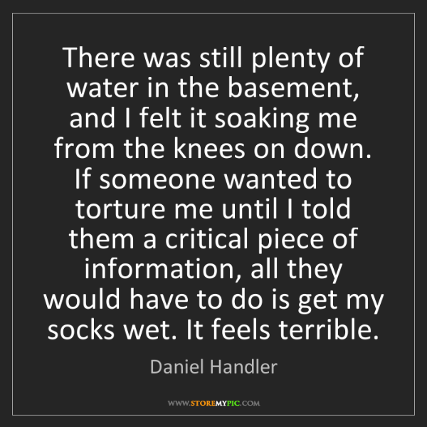 Daniel Handler: There was still plenty of water in the basement, and...