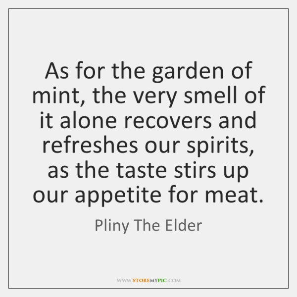 As for the garden of mint, the very smell of it alone ...