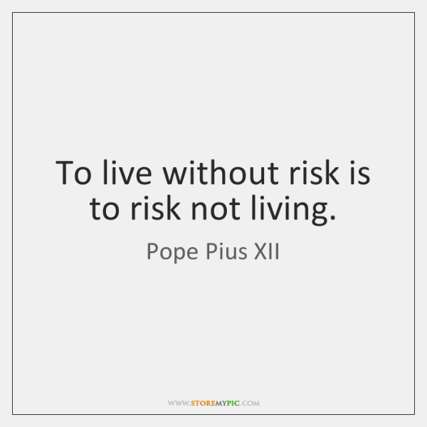 To live without risk is to risk not living.