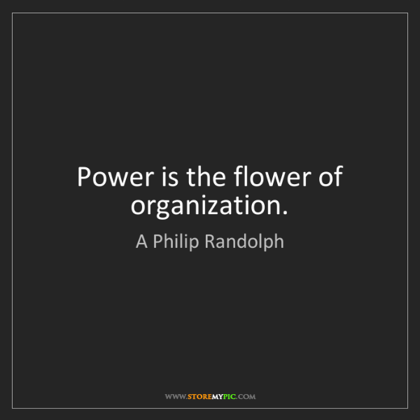 A Philip Randolph: Power is the flower of organization.
