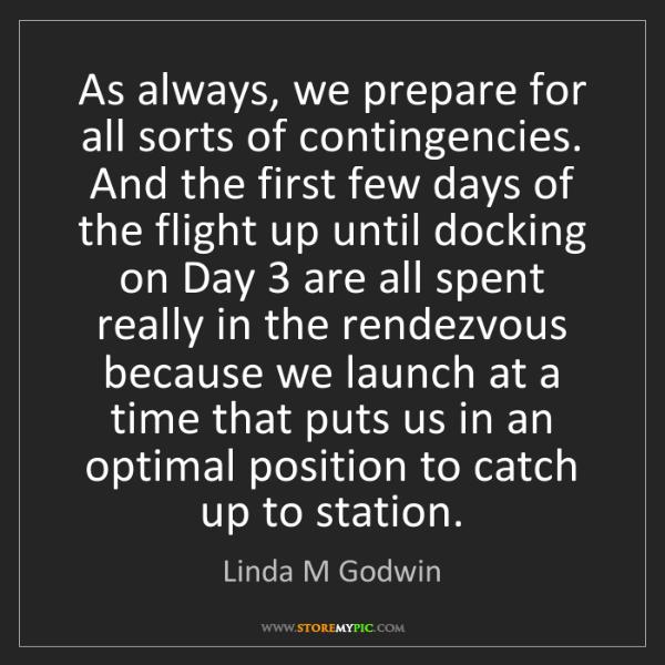 Linda M Godwin: As always, we prepare for all sorts of contingencies....