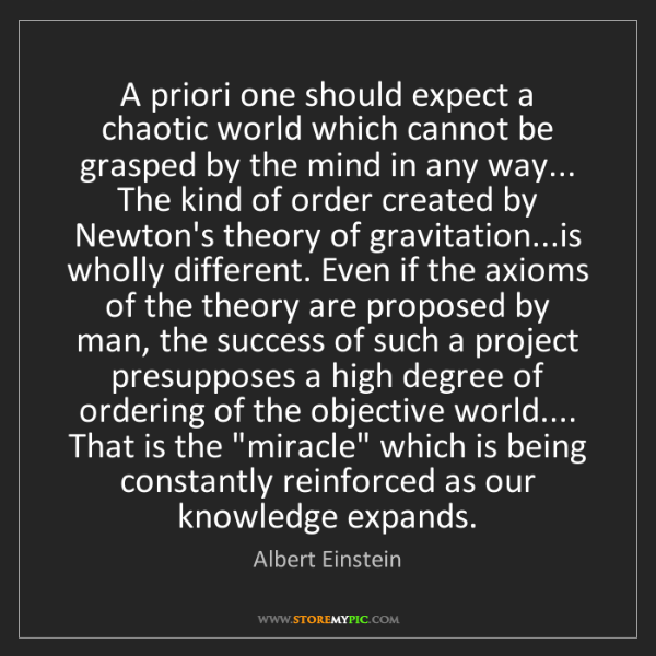 Albert Einstein: A priori one should expect a chaotic world which cannot...