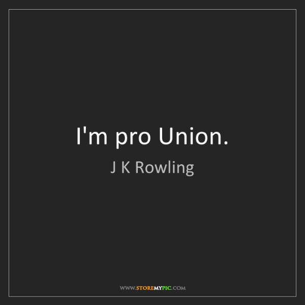 J K Rowling: I'm pro Union.