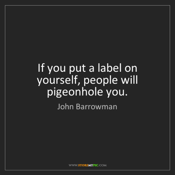 John Barrowman: If you put a label on yourself, people will pigeonhole...