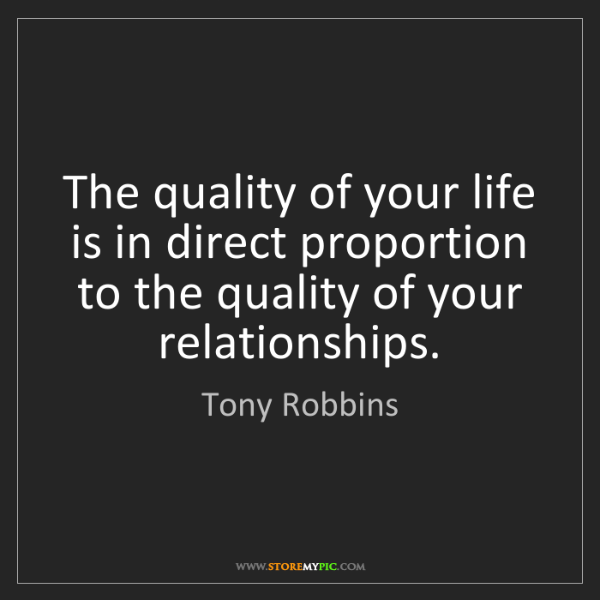 Tony Robbins: The quality of your life is in direct proportion to the...