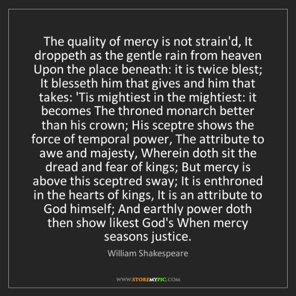 William Shakespeare: The quality of mercy is not strain'd, It droppeth as...