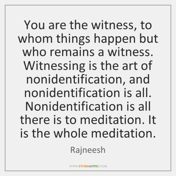 You are the witness, to whom things happen but who remains a ...