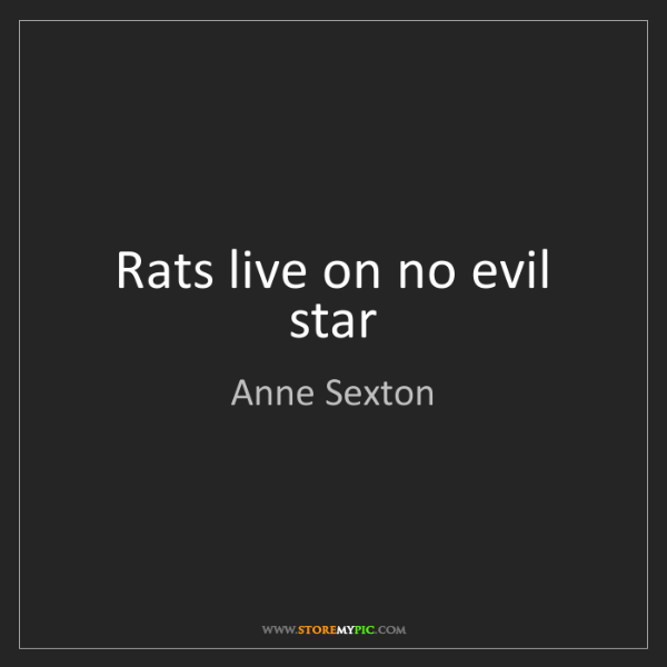 Anne Sexton: Rats live on no evil star