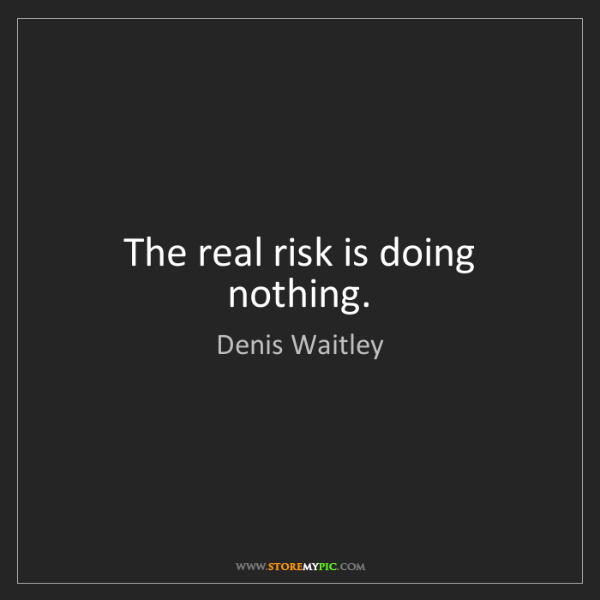 Denis Waitley: The real risk is doing nothing.
