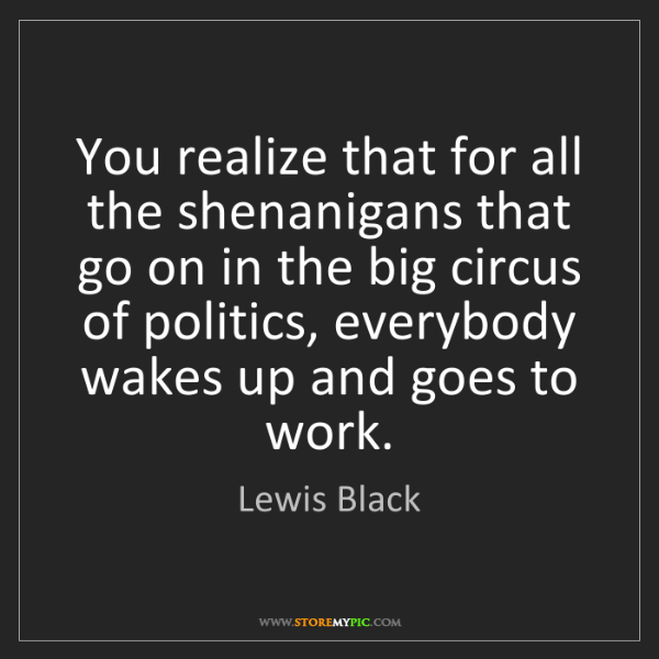 Lewis Black: You realize that for all the shenanigans that go on in...