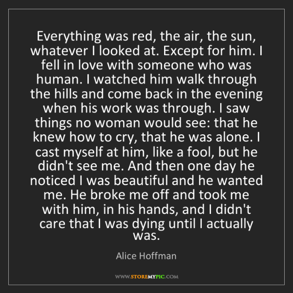 Alice Hoffman: Everything was red, the air, the sun, whatever I looked...