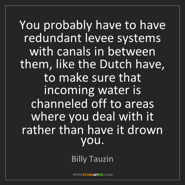 Billy Tauzin: You probably have to have redundant levee systems with...