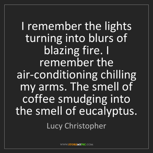 Lucy Christopher: I remember the lights turning into blurs of blazing fire....