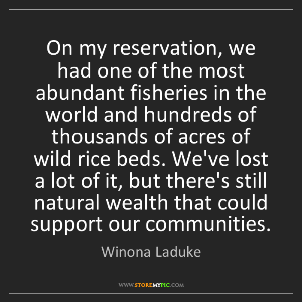 Winona Laduke: On my reservation, we had one of the most abundant fisheries...