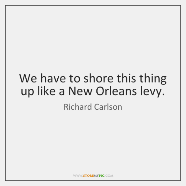 We have to shore this thing up like a New Orleans levy.
