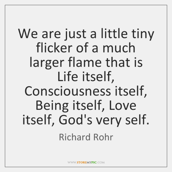 We are just a little tiny flicker of a much larger flame ...