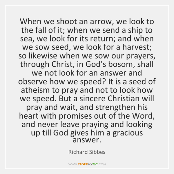 When we shoot an arrow, we look to the fall of it; ...