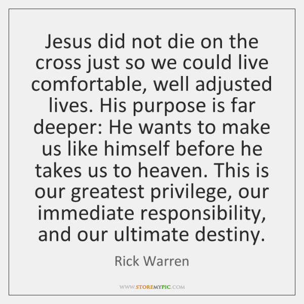 Jesus did not die on the cross just so we could live ...