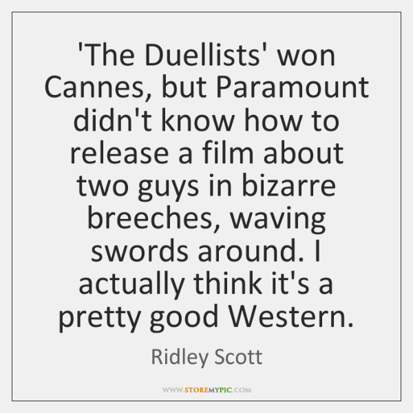 'The Duellists' won Cannes, but Paramount didn't know how to release a ...