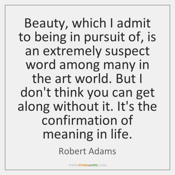 Beauty, which I admit to being in pursuit of, is an extremely ...