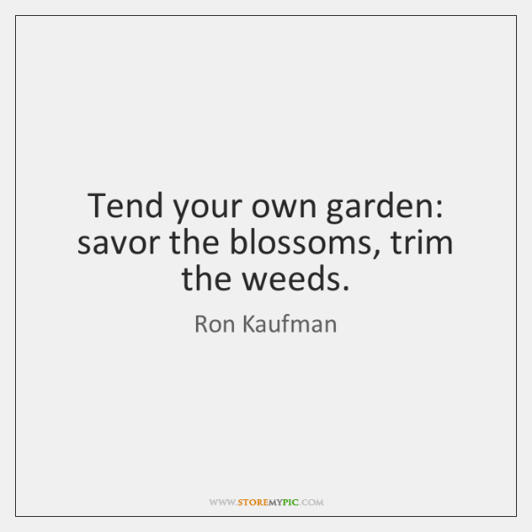 Tend your own garden: savor the blossoms, trim the weeds.