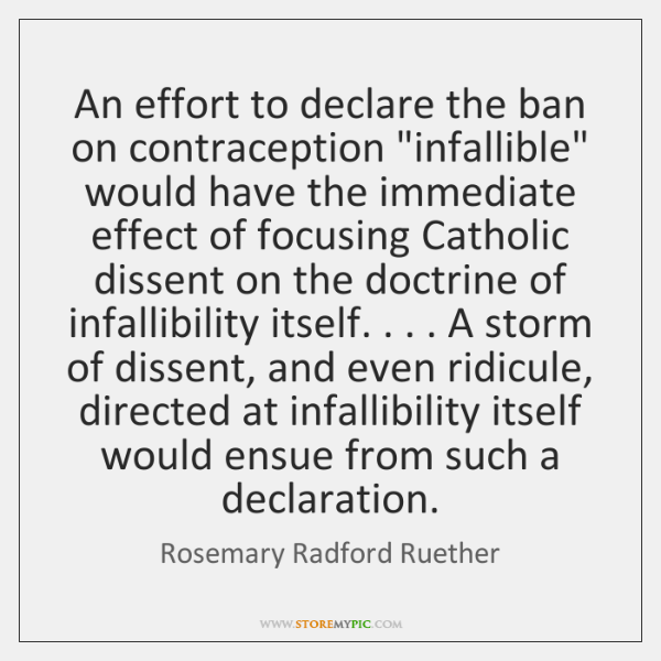 """An effort to declare the ban on contraception """"infallible"""" would have the ..."""