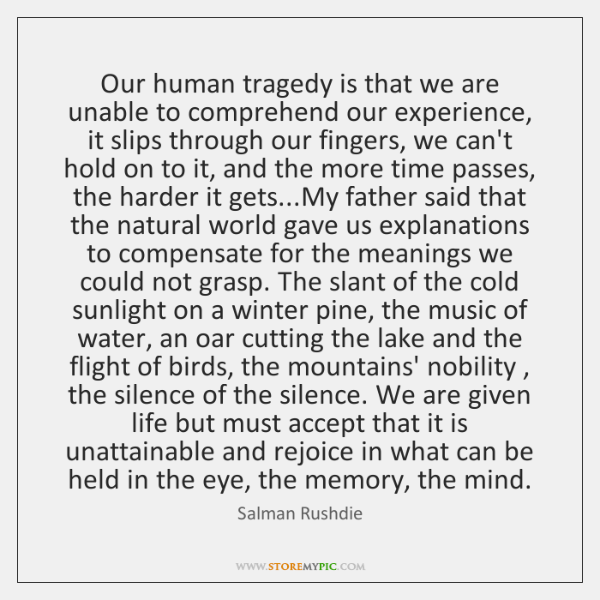 Our human tragedy is that we are unable to comprehend our experience, ...