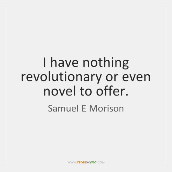 I have nothing revolutionary or even novel to offer.