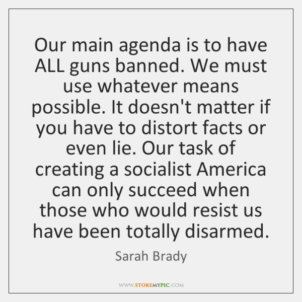 Our main agenda is to have ALL guns banned. We must use ...