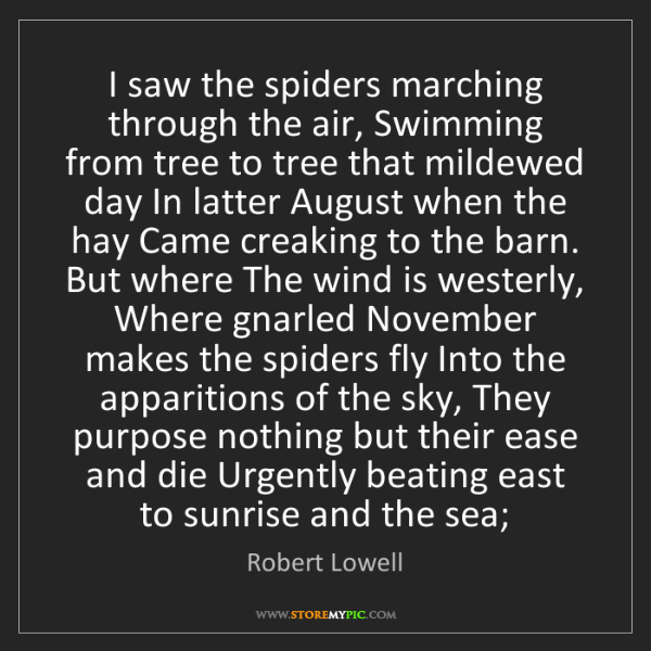 Robert Lowell: I saw the spiders marching through the air, Swimming...