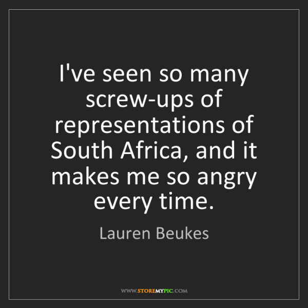 Lauren Beukes: I've seen so many screw-ups of representations of South...