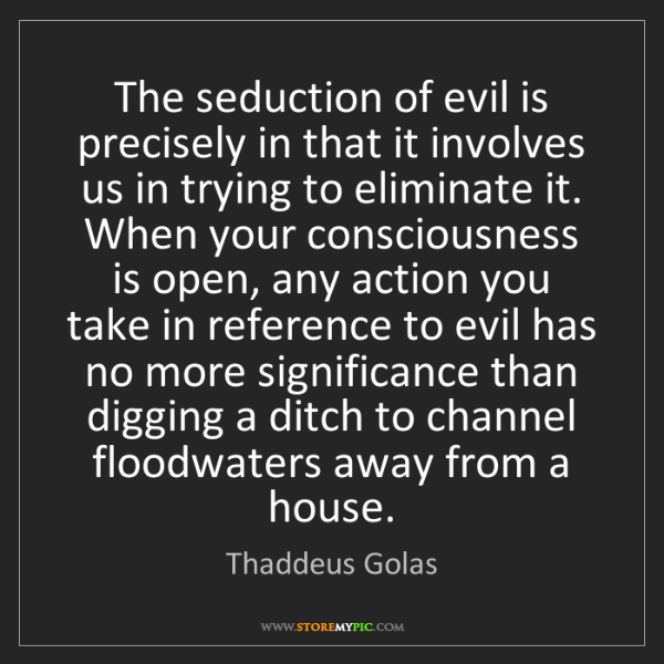 Thaddeus Golas: The seduction of evil is precisely in that it involves...