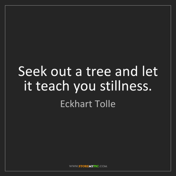 Eckhart Tolle: Seek out a tree and let it teach you stillness.