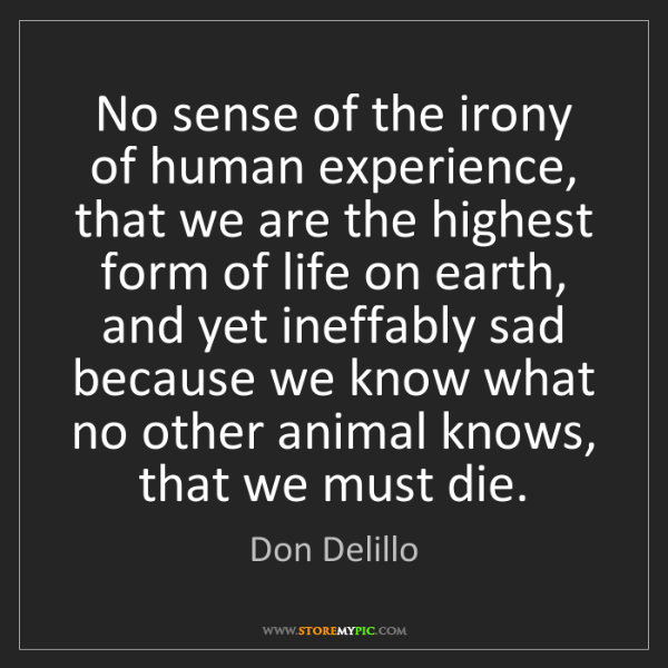 Don Delillo: No sense of the irony of human experience, that we are...