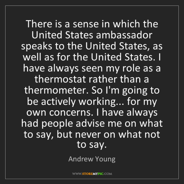 Andrew Young: There is a sense in which the United States ambassador...