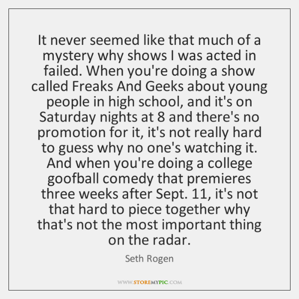 It never seemed like that much of a mystery why shows I ...