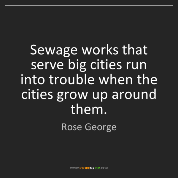 Rose George: Sewage works that serve big cities run into trouble when...