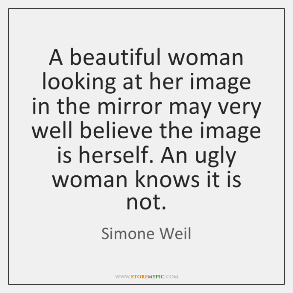 A beautiful woman looking at her image in the mirror may very ...