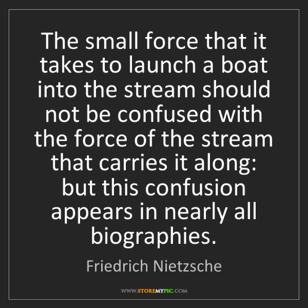 Friedrich Nietzsche: The small force that it takes to launch a boat into the...