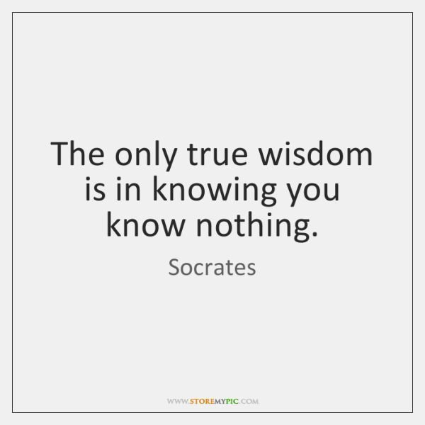 The only true wisdom is in knowing you know nothing.