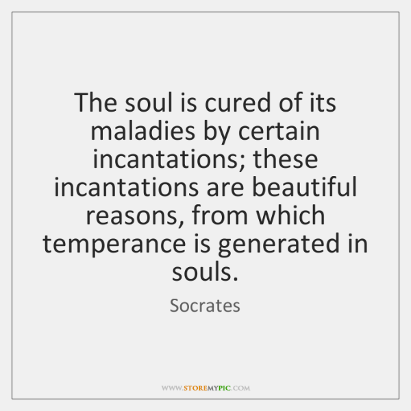 The soul is cured of its maladies by certain incantations; these incantations ...