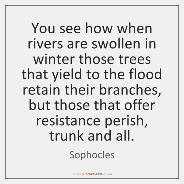 You see how when rivers are swollen in winter those trees that ...